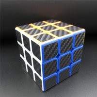 Wholesale Carbon Fiber Cube - Wholesale-2015 Hot Sale Magic Cube Carbon Fiber Film Stickers Puzzle 3x3x3 Education Cubo Magico Game Cube Toys IMF089