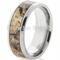 Wholesale Realtree Ap - Wholesale-2015 Most popular 8mm Titanium Realtree AP Camouflage Ring Camo wedding band Men jewelry lover rings anel anillos