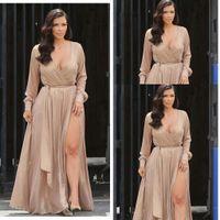 Wholesale Kim Kardashian Yellow - Sexy Kim Kardashian street style A line chiffon celebrity evening dresses deep V neck with long sleeves split floor length prom gowns