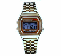 NUOVA Moda Retro Vintage Gold Orologi Uomo Electronic Digital Watch LED Light Dress Orologio da polso relogio masculino FYMHM102