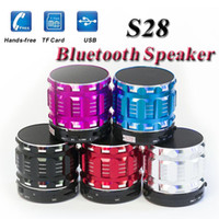 Wholesale Mini Portable Speaker Bluetooth Micro - Mini Portable Stereo S28 Speaker Bluetooth Wireless Phone HandsFree with MIC HiFi Music Player Loud Speakers TF Micro SD S12 S13 S14 S26 S32