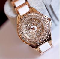 Wholesale Diamante Watches - NEW Fashion Women Wristwatches Luxury High-grade ceramic watch Diamante Ladies Quartz watches Drop shipping Free shipping