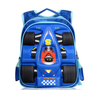 Wholesale Children School Bag Car Blue - Children Kid's Boy Backpack School Bag Blue Waterproof 3D Racing Car High Quality Good for Kids
