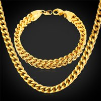 Wholesale never fade gold chain 18k - New Chunky Big Chain Necklace Bracelet Set Stainless Steel  18K Gold Plated Never Fade Men Jewelry MGC GNH1412