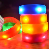Wholesale Light Up Bracelets Free Shipping - Christmas gift for kids 7 Color Sound or shock Control Led Flashing Bracelet Light Up Bangle Club Activity Party Bar Cheer toy free shipping