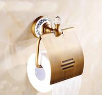 Wholesale Antique Brass Toilet Paper - Classical Antique Brass Toilet Paper Holder Waterproof Paper Holder Ceramic Base