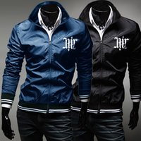 Wholesale Stylish Spring Mens Jackets - New Mens Autumn Spring Fashion Print Stylish Hoodies Mens Hooded Collar Sweatshirts Casual Outerwear Jacket Free Shipping