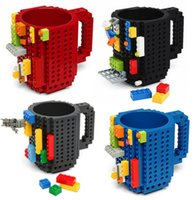Wholesale Freeze Coffee - Build a Brick Mug Building Blocks Coffee Cups Frozen Coffee Mug DIY Block Puzzle Lego Mug 12oz 350 ml Christmas Gift