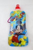 Wholesale Wholesale Plastic Foldable Water Bottles - FREE Shipping by FEDEX 300pcs lot 2014 Mickey and Minnie Cartoon Foldable Portable Sports Plastic Water Carton Bottle Bag 500ml 1013#13