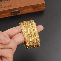 Wholesale 24k Gold Wedding Bangles - 1 pc Women Dubai india girls Bangle 24K Gold Color Bracelet Bangle African  Arabic Ethiopian Bride Wedding Jewelry
