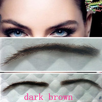 Wholesale Eyebrow Stickers - Wholesale-free shipping 1 pair dark brown 100% human hair false eyebrow sticker with swiss lace eyelash extension make up fake eyebrows
