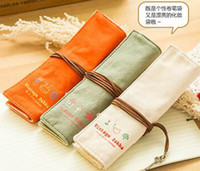 Wholesale Canvas Pen Curtain - 2016 new stationery box curly Pencil Case   canvas pen curtain   elegant makeup bag   Pencil bag free shipping