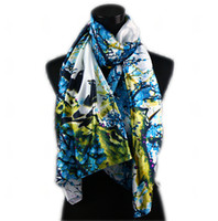 1pcs White Women's Fashion Satin Blue Magpie Ameixa em flor Pintura a óleo Long Wrap Shawl Beach Silk Scarf 160X50cm