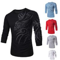 yenilik kollu dövmeler toptan satış-Toptan-Moda Marka Erkekler için 10 tarzı uzun kollu T Shirt Yenilik Ejderha Baskı Dövme Erkek O-Boyun T Shirt M-XXXL TX7173-2