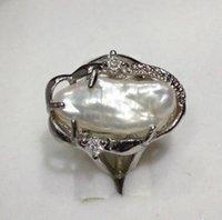 anillos de perlas barrocas al por mayor-Moda hermosa blanco barroco perlas de agua dulce anillo de la joyería tamaño 7-8