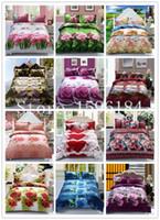 Wholesale Brown Comforter Sets Flowers - home textile 15 design 3D Flowers comforter bedding-set sabanas 4 pcs of bed linen duvet cover bed sheet king size Free shipping