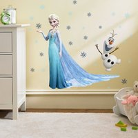 Wholesale Wall Lower Decals - Christmas home decoration Frozen Elsa Anna olaf Wall Stickers 3D Window View Wallpaper Rolls Removable 45*60CM Wall Decals For Kids Room low
