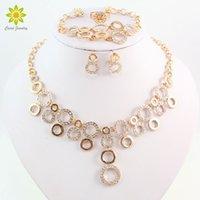Wholesale dubai accessories - New Arrival Women Fashion Gold Plated Jewelry Sets Rhinestone Circles Necklace Set Dubai Bridal Wedding Accessories