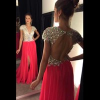Wholesale Cheap Empire Line Tops - Real Image Cheap Prom Dresses 2016 BlingBling Crystal Beads Top Sexy Backless With Split Evening Gowsn Chiffon A Line Party Gowns BA1840
