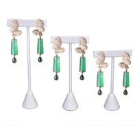Wholesale Metal Display Hooks - White PU Jewelry Display Rack Earring Tree T Bar Display Holder Stud Organizer Storage Showcase Stand 3 Sizes Earring Hook Hang Rack