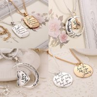 Wholesale I Love Mix Gift - 5 styles mixed I Love You To The Moon and Back Heart Pendant heart letter necklace mother necklace free shipping