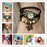 Wholesale Crown Leather Watch - Fashion Weave Leather Charms Watches Women Quartz Wrist Watches Pendants Wing Butterfly Heart Eiffel Tower Starfish Moon Crown Mix Colors
