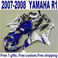 precios de plástico abs al por mayor-El precio más bajo de la carrocería establece para YAMAHA YZF R1 carenados 2007 2008 azul blanco negro de plástico kit de carenado YZF-R1 07 08 ER66
