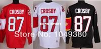 crosby jersey de invierno al por mayor-2016 Nuevo, 2014 Olimpiadas de Invierno # 87 Sidney Crosby Hockey Jerseys Barato Rojo Blanco Color Negro Cosido