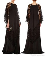 Wholesale Maternity Wear Fashion Clothes - 2017 plus size black lace arabic caftans evening dresses Dubai Kaftans Abayas muslim evening gowns islamic clothing