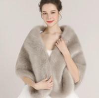 Wholesale Grey Fur Bolero - Elegant Bridal Wrap Cloak Coat Jackets Boleros Shrugs Regular Faux Fur Stole Capes For Wedding Party Free Shipping LD1053