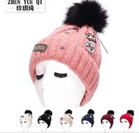 Wholesale Korean Stars Cap - Winter Fashion Beanie Knitted copper five-star Korean label Hat Women Cap Winter Beanie Headgear Headdress Head Warmer Top Quality