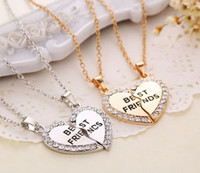 Wholesale vintage best friend necklaces - Wholesale 5set lot (Gold, Silver ) 2 Parts Crystal Broken Heart Best Friends Pendant Necklace Vintage Jewelry For Girls
