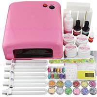 Wholesale Light Pink Gel Nail Kit - Wholesale-Nail 36W Pink Color UV Gel Curing Nail Dryer Lamp + Light Bulb + Gel Kit + Files