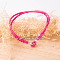 S925 Sterling Silver Buckle Moments Pink Fabric Hand Rope Gioielli di moda DIY Making Bracelets