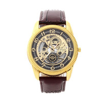 Wholesale Mechanical Chronograph Skeleton Watch - Men's watch Hollow out Skeleton Faux Mechanical Watch Classic Transparent Steampunk Wristwatch Leather Band Watches Relogio Masculino