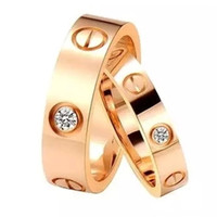 Wholesale Stainless Steel Couple Rhinestone - Hot sale Titanium steel g rose gold ring silver ring lover screwdriver fashion jewelry women wedding ring