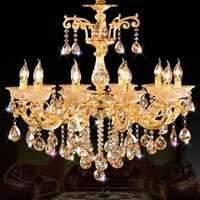Wholesale Candle Light Restaurant - Golden Luxury Crystal Chandelier Lighting European style Candle Pendant Lights 6 8 10 Arm Living room Restaurant Hotel Lighting Fixture