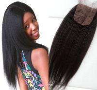 Wholesale Russian Parts - Hot selling silk base closure 4x4 romance peerless coarse yaki hair top closure virgin Russian human hair three part closure G-EASY
