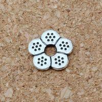 3mm'lik boncuk deliği toptan satış-MIC 200 adet Antik gümüş alaşım petal Spacer Boncuk 3mm delik fit boncuklu bilezik DIY Takı D38