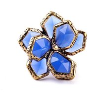 Quente Declaração Mulheres Rhinestone Floral Ring Luxurious Jewelry Party Daily Gift New Fashion Trendy Style for Wholesale