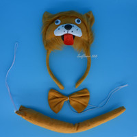 Wholesale Headband Ears Tail Bow Tie - 2017 Kids Adults Animal Lion Ears Headband Bow Tie Tail Cosplay Performance Props Halloween Carnival Party Favors Gift