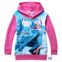 Wholesale 12pcs colors children hoodies Princess Elsa Anna printed long sleeve kids clothing Fall baby girls sweaters for yrs child
