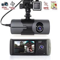 ingrosso registrazione della telecamera a ciclo-2017 Nuovo Dual Camera Car DVR Telecamere R300 GPS esterno 3D G-Sensor 2.7