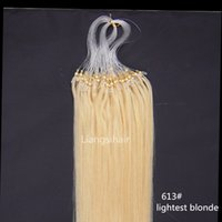"Wholesale 613 Lightest Blonde - Human Hair Brazilian virgin Remy Bundles 16""-26"" 100s 613# Lightest Blonde Loop Micro Ring Hair Extensions Straight Brazilian Hair Products"