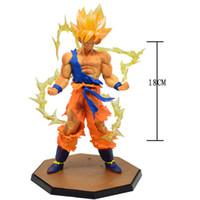 goku super saiyan toys al por mayor-2016 nueva llegada caliente 18 cm Dragon Ball Z Super Saiyan Goku PVC figura de acción muñeca de juguete para niños