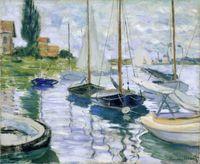 Wholesale Petit Paint - Boats at rest, at Petit-Gennevilliers by Claude Monet,Landscape Handmade Oil painting,High quality