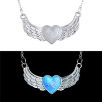 Wholesale Silver Plated European Necklace - European Style Luminous Heart Pendant Necklaces Wholesale Silver Plated Angel Wings Necklaces For Women Glow In Dark Gemstone Jewelry