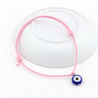 Wholesale Pink Evil Eye Bracelets - Hot ! 100 pcs Evil Eye Bracelets - Adjustable Pink Waxes rope Charm Bracelets Lucky Eye Beads Bracelets