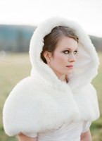 Wholesale White Fur Short Wedding Capes - 2016 New Romatic Winter In Stock Hooded White Ivory Faux Fur Jacket Wedding Bridal Wraps Warmer Short Women Shawl Capes Free shipping