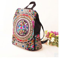 Wholesale Embroidered National Trend Bag - National trend canvas embroidery Ethnic backpack women handmade flower Embroidered Bag Travel Bags schoolbag backpacks mochila